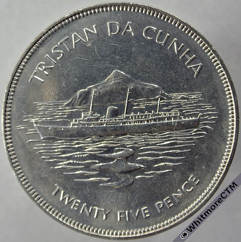 1977 Tristan Da Cunha Silver Jubilee Crown - 25 Pence rev