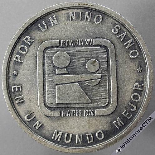 1974 Argentina 14th International Pediatric Congress Medal 50mm Silvered bronze obv