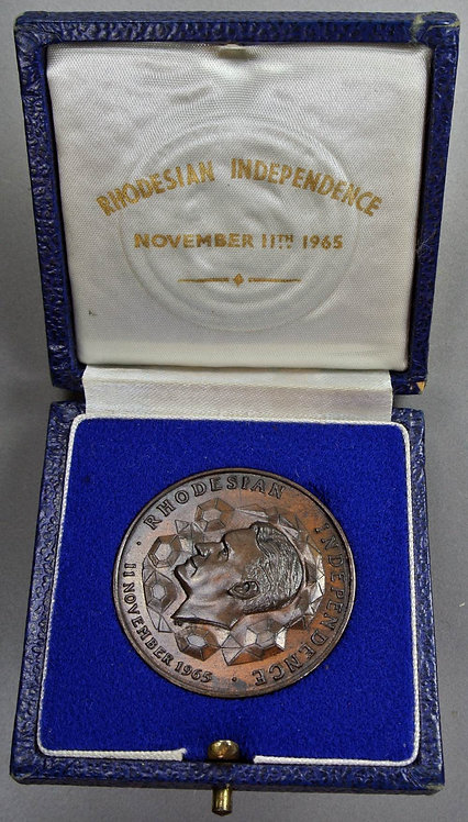 1965 Rhodesia Independence Ian Smith Medal 38mm Bronze.Cased