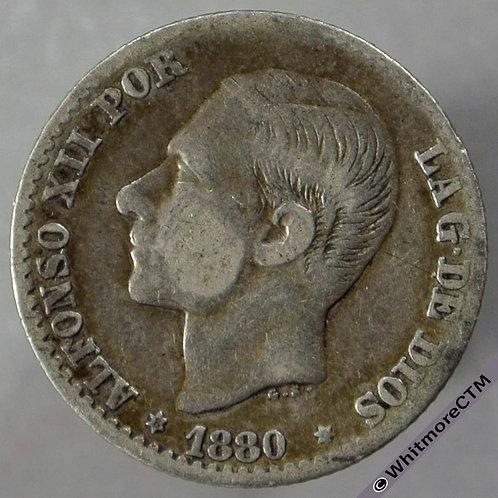 1880 Spain 50 Centimos obv - Silver