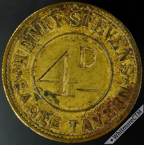 London Eagle Tavern Inn / Pub Token Henry Stevens. 4D incuse.  Uniface.