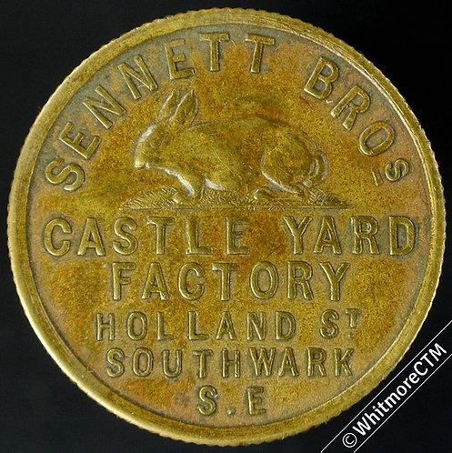 Southwark 26mm Sennett Bros. Rabbit. Hatters furriers & skin merchants. Gilt