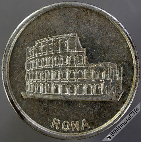 Italy 1990 Football World Cup Medal 35mm Silvered brass. view of Colosseum