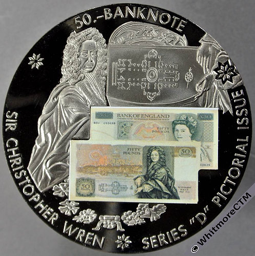 1981 British Banknote £50 Series D Medal 50mm Sir Christopher Wren