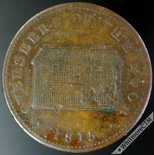 19th Century Penny Token Sheffield 1026 1815 View of Workhouse. Rare.