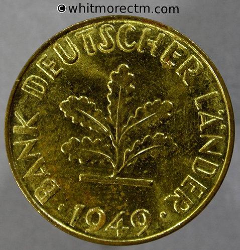1949 Germany 10 Pfennig coin 1949J - Y103 90% Luster
