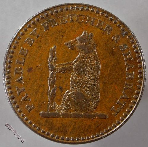 19th Century Penny Walsall 1147 1811 Fletcher & Sharratt Bear & staff - obv