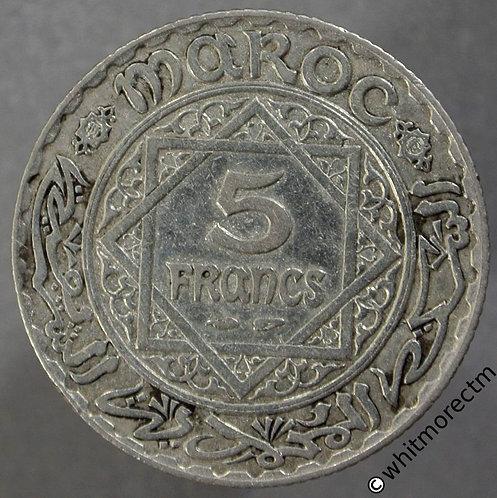 1352 (1933) Morocco 5 Francs - Y37 Silver