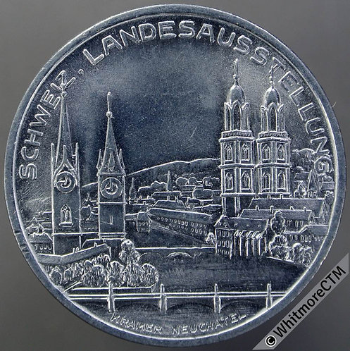 1939 Austria Zürich Landesausstellung Medal 33mm Aluminium Pavilion - Aluminium