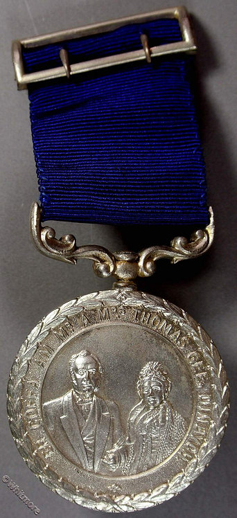 Denbigh 1966 Mr & Mrs Thomas Gee Sunday School Medal 41mm Silvered bronze ribbon