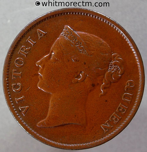 1862 Straits Settlements 1 Cent coin obv - Queen Victoria British Crown Colony
