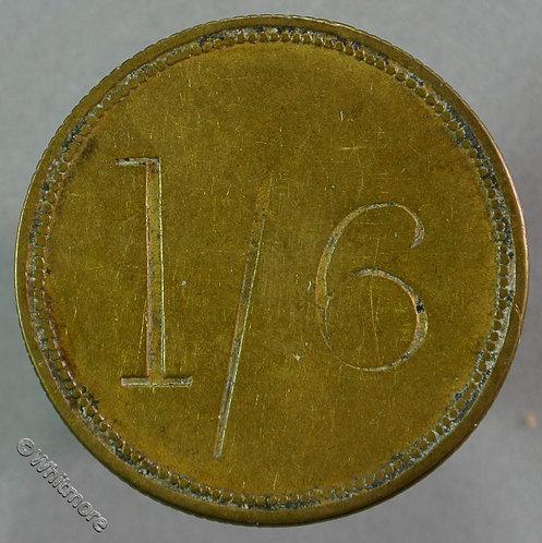 Market Token Dudley 28mm John Baker - Potato Merchant - stamped incuse 1/6 Brass