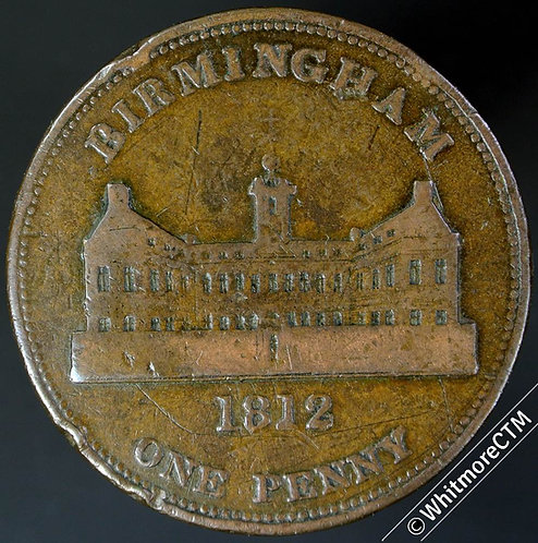 19th Century Penny Token Birmingham 393 1812 View of Workhouse - Very Rare