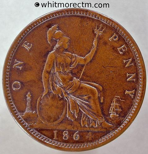 1864 British Bronze Penny Victoria Bun Head - Crosslet 4