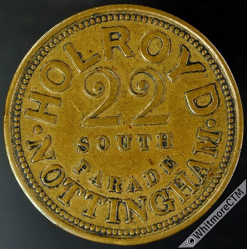 Nottingham Token 27mm Holroyd - By Hiron. Chamberlain 32 - Gilt bronze