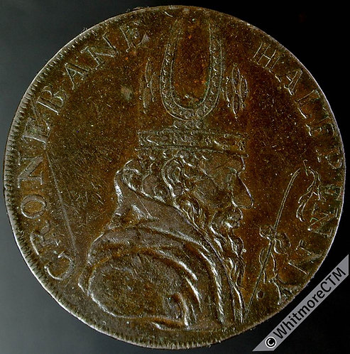 18th Century Halfpenny Cronebane 48b 1789 Bishops Head / Irish Miners Arms.