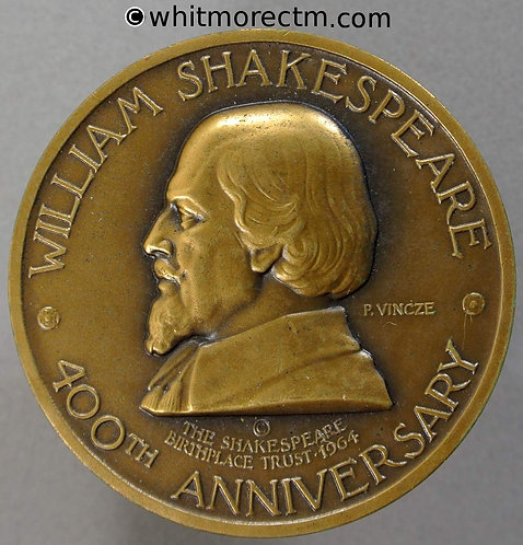 1964 400th Anniversary of Shakespeare's Birth Medal 38mm By P.Vincze - Bronze
