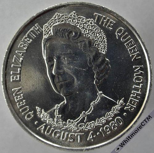 1980 Tristan Da Cunha Queen Mother Crown - 25 Pence rev