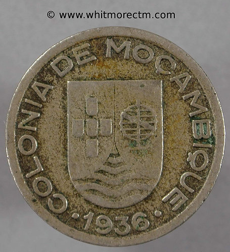 1936 Mozambique 50 Centavos coin obv