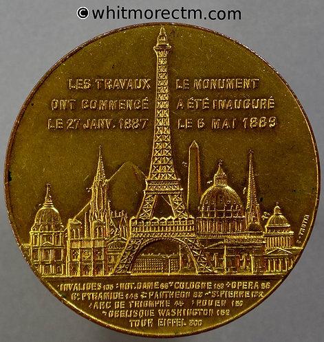 1889 France Paris Eiffel Tower Souvenir de mon ascension Medal 42mm By Trotin