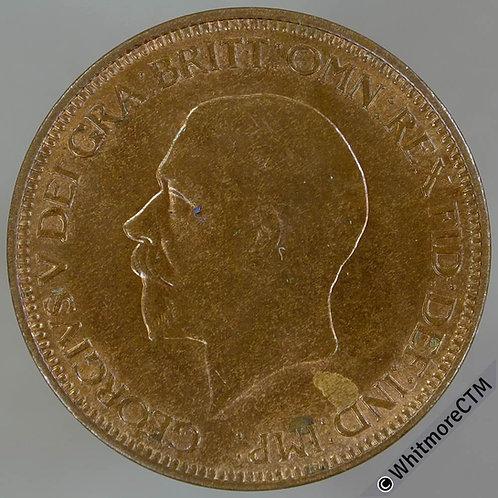 1932 Bronze Halfpenny George V - 40% Luster