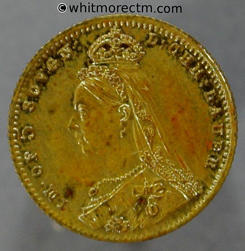 Toy Coin. Lauer's Jubilee Head 5 Sovereign 500a 13mm - 1887 Large 5 - Gilt Brass