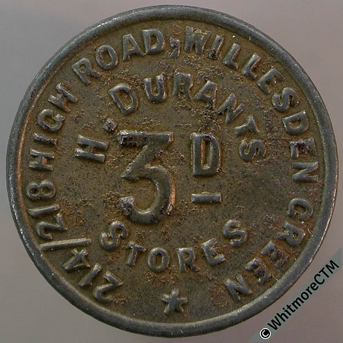 Bonus Token Willesden Green 22mm 3D H.Durants Stores. Bracteate iron