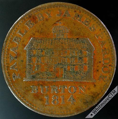 19th Century Penny Token Burton 640a 1814 James Pardoe. Centre graining. V Rare