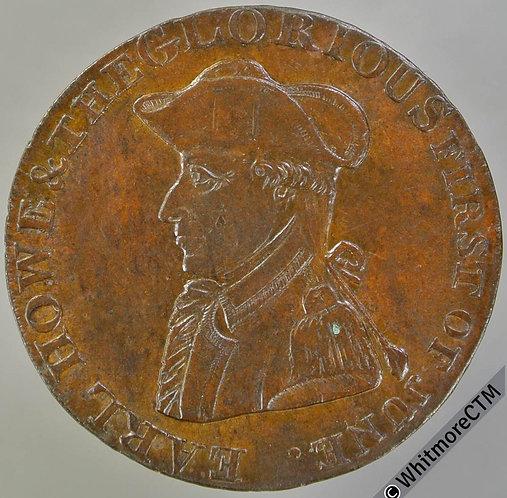 18th Century Halfpenny Emsworth 13 1794 Admiral Howe / Britannia.