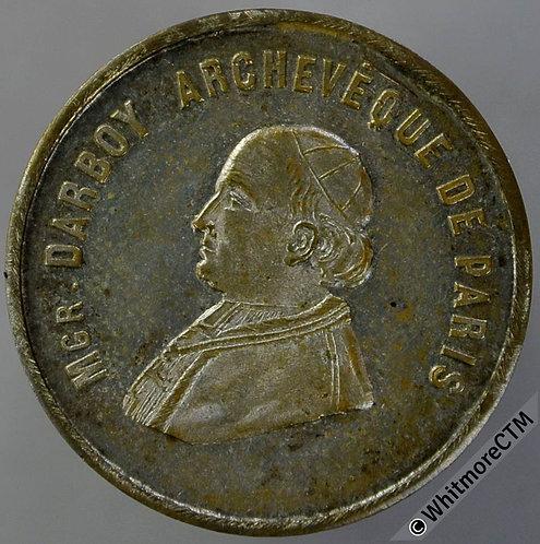 France 1871 Death of Darboy Archbishop of Pari Medal 23mm Silvered Bronze
