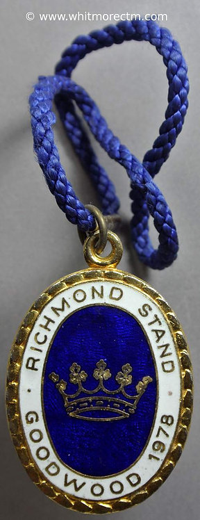 Ticket Pass Token Goodwood 1978 Richmond Stand 42x28mm Oval gilt enamelled
