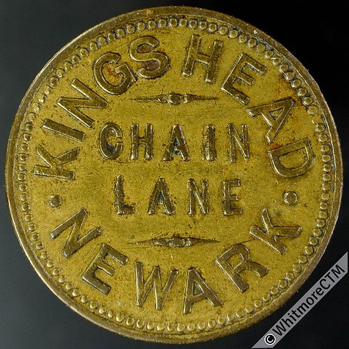 Newark Inn / Pub Token Kings Head  Chain Lane / 1½D in wreath