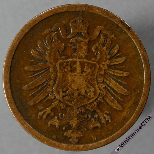 1876 Germany 2 Pfennig 1876H Y2 obv