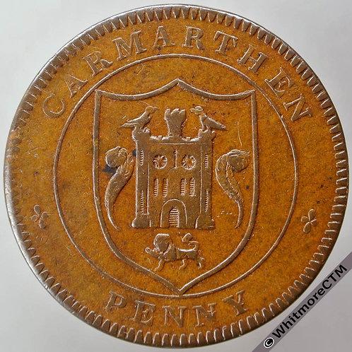 19th Century Penny Carmarthen 1302 1812 W.Griffiths & Co. Arms / cask