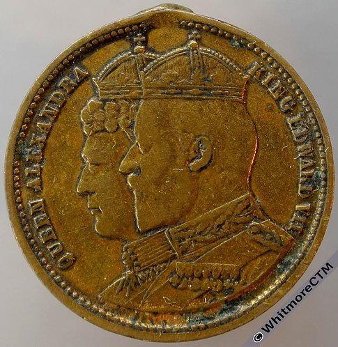 1902 Edward VII Coronation Medal 25mm WE4775 Brass, missing suspender