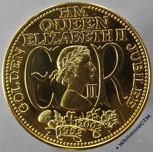 2002 Golden Jubilee Queen Elizabeth II Medal obv 39mm Gilt bronze
