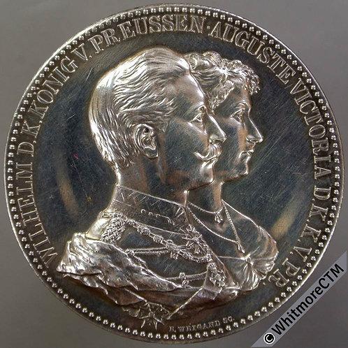 Germany 1906 Silver Wedding of Wilhelm II & Augusta Medal 45mm - Silver