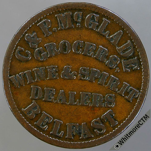 Unofficial Farthing Belfast 5520 C & P McGlade-Grocers, comma after grocers.