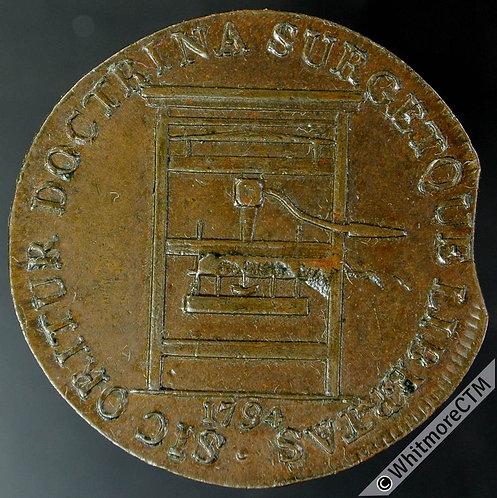 18th Century Halfpenny Middlesex 307a 1794 Printing Press. Plain edge Flan clip