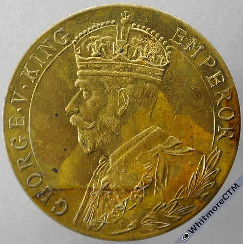 1911 George V Coronation Medal 32mm As WE5051 Uniface gilt brass. Possibly trial