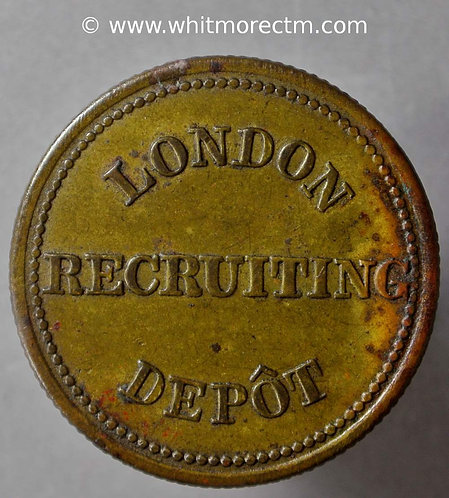 Armed Forces Token 26mm London Recruiting Depot Stamped DINNERS 365 Yarwood 97 - obv