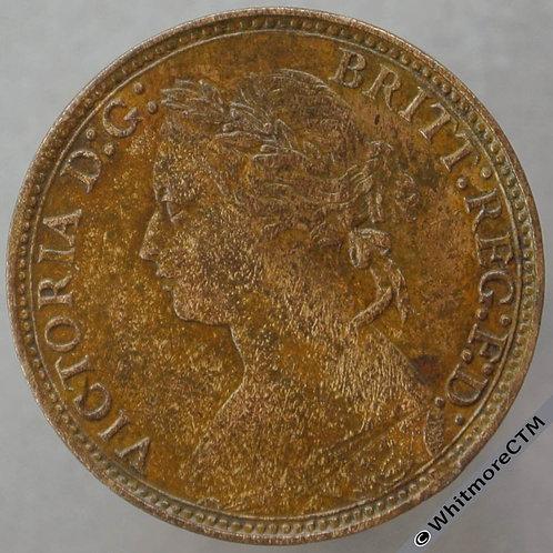 1874H British Bronze Farthing Victoria Bun Head.