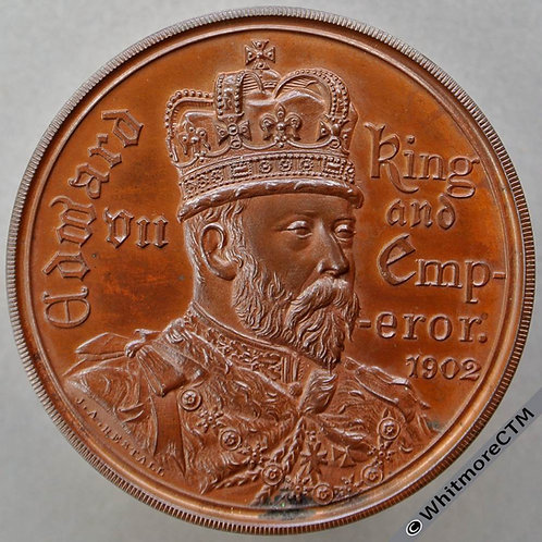 1902 Royal College of Music Coronation Medal 38mm WE4512E By Restall. Bronze