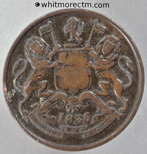 1835M British India Half Anna rev