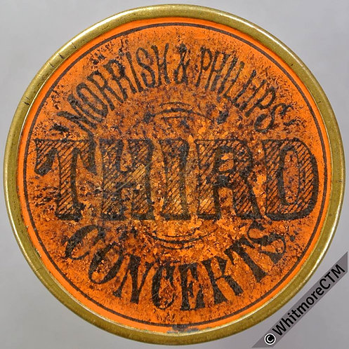 Ticket Pass Token Bristol Morrish & Phillips Concerts 36mm orange card insert