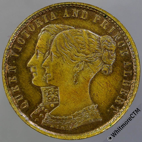 1844 Opening of Royal Exchange Medal 22mm B2175 Victoria & Albert. Gilt Bass