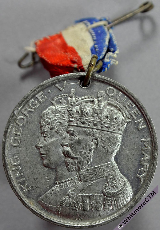 1911 George V Coronation Medal 33mm WE5148A White Metal. By Holt - ribbon