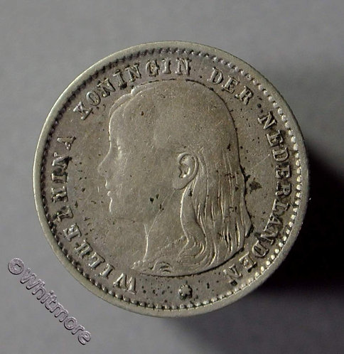 Netherlands 10 Cents 1893 Silver