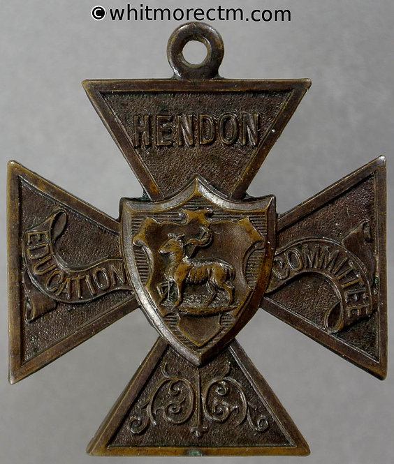 Hendon 1918 Education Committee Medal 30mm To M Vine - Cruciform bronze