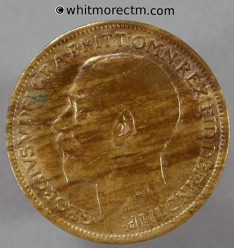 1920 British Bronze Farthing George V  50% Luster